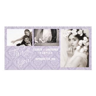Damask Vintage Thank You Wedding Photo Card -lilac