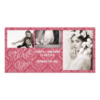 Damask Vintage ThankYou Wedding Photo Card-rhubar Card