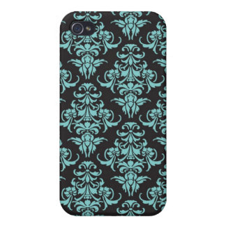 Damask vintage wallpaper blue chic pattern iPhone 4/4S cover