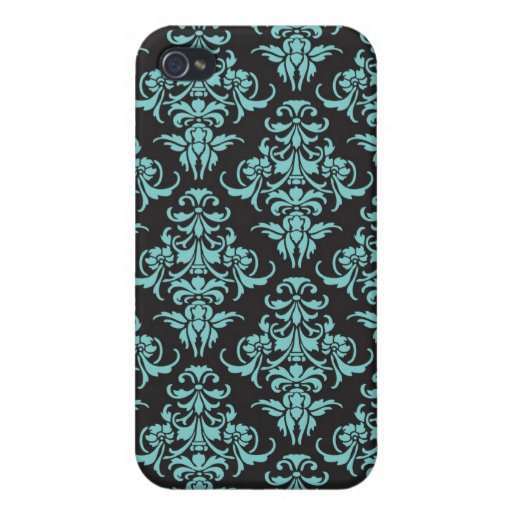 Damask vintage wallpaper blue chic pattern covers for iPhone 4