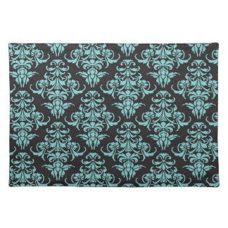 Damask vintage wallpaper blue girly chic placemat