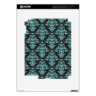 Damask vintage wallpaper blue girly chic skins for iPad 3