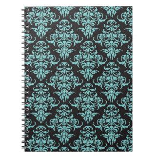 Damask vintage wallpaper blue girly chic spiral notebooks