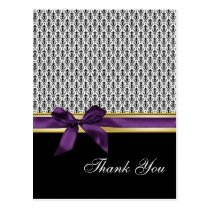 damask violet  ribbon ThankYou Cards