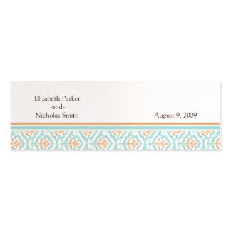 Damask Wallpaper Floral Wedding Website Card Double-Sided Mini Business Cards (Pack Of 20)