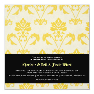 damask; wedding card