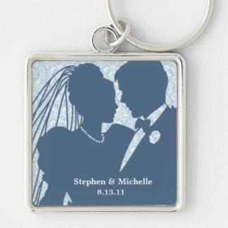 Damask Wedding Couple Keepsake Keychain