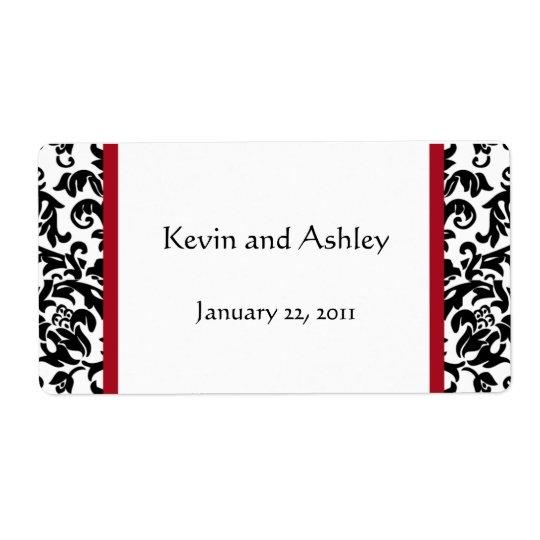 damask wedding favor labels