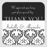 Damask Wedding Favour Thank You Label Black Square Square Stickers