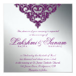 Damask Wedding Glitter Silver Purple Bright Card