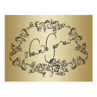 Damask wedding gold Thank You Card Postcard