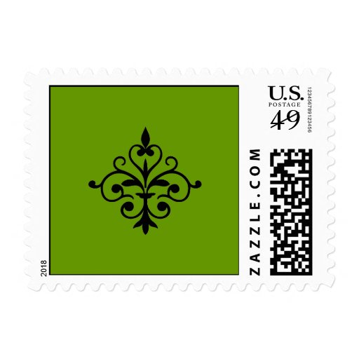 Damask Wedding Green, Black & White USPS Postage