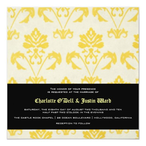 damask; wedding 5.25x5.25 square paper invitation card