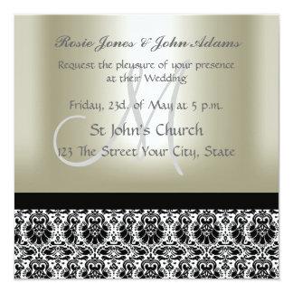 "Damask Wedding Invitation black and Pearl 5.25"" Square Invitation Card"