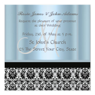 Damask Wedding Invitation black and Sky Blue Custom Announcement