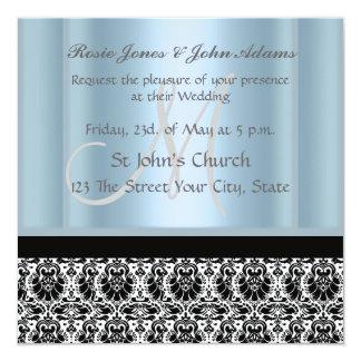 "Damask Wedding Invitation black and Sky Blue 5.25"" Square Invitation Card"