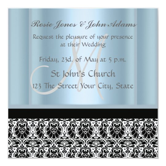 Damask Wedding Invitation black and Sky Blue