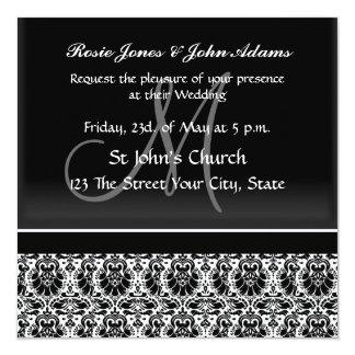 Damask Wedding Invitation black and white Personalized Invites