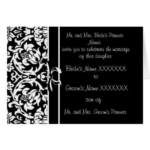 Damask Wedding Invitation Black And White Greeting