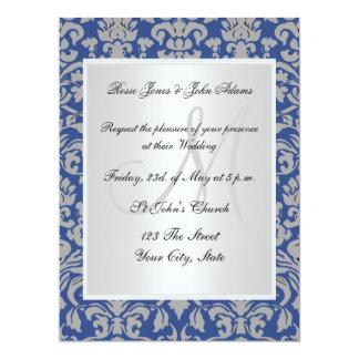 Damask Wedding Invitation Blue and white Invites