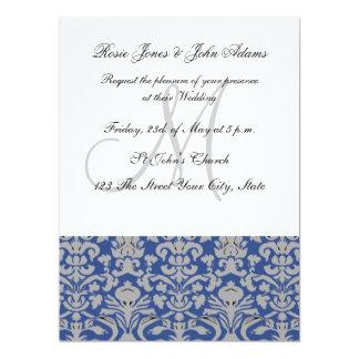 Damask Wedding Invitation Blue and white Personalised Invitation