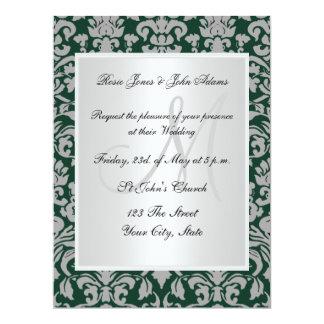 Damask Wedding Invitation Dark Green white Invitation