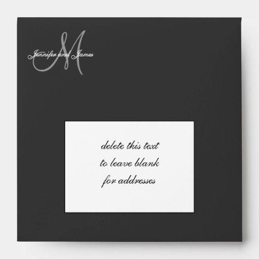 Damask Wedding Invitation Envelopes Black