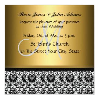 Damask Wedding Invitation Gold Custom Invites