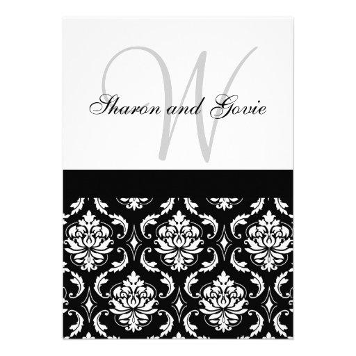 Damask Wedding Invitation Monogram & Names Back