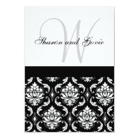 Damask Wedding Invitation Monogram & Names Back
