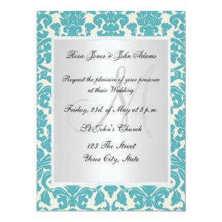 Damask Wedding Invitation Teal and white Custom Invitations
