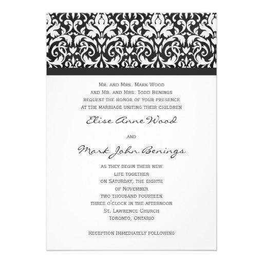 Damask wedding invitation template 5quot x 7quot invitation card for Damask wedding invitations template free