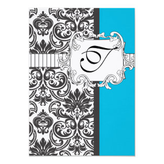 Damask Wedding Invitation Turquoise/Black