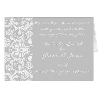 Damask Wedding Invitation White-Grey Gray Choose