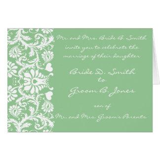 Damask Wedding Invitation White-Sage Green Choose