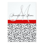 Damask Wedding Invitations Monogram Red