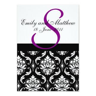 Damask Wedding Invitations Purple Monogram