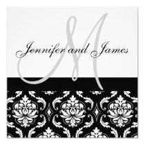 "Damask Wedding Invitations with Monogram Names 5.25"" Square Invitation Card"