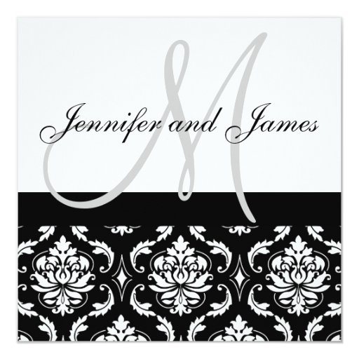 Damask Wedding Invitations with Monogram Names