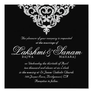 Damask Wedding Invite Diamond Sparkle Silver Lace