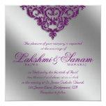 Damask Wedding Invite Sparkle Silver Purple