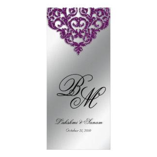 Damask Wedding Menu Cards Purple Glitter Bright