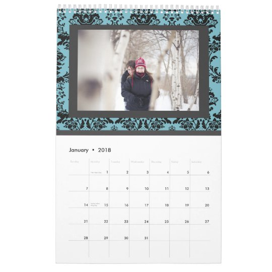 Damask Wedding Monogram Signature Photo Guestbook Calendar