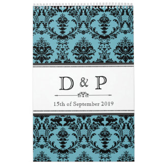 Damask Wedding Monogram Signature Photo Guestbook Calendar