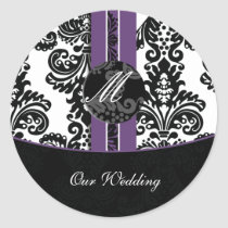 damask Wedding Monogram stickers