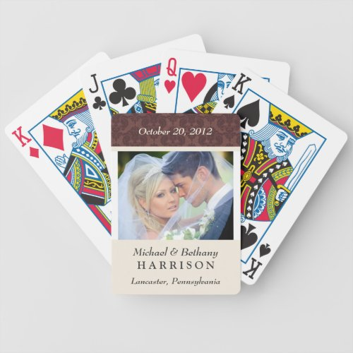 Damask Wedding Photo Personalized Playing Cards