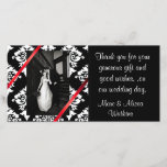 """Damask Wedding Photo Thank You Card<br><div class=""""desc"""">Beautiful wedding thank you photo card,  done in a black and white damask,  with red accent ribbons.  Personalize with your own photograph and text. Very pretty way to send your formal thank yous after the wedding,  and everyone will love the added photo,  of the newly married couple.</div>"""