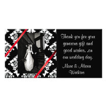 Damask Wedding Photo Thank You Card
