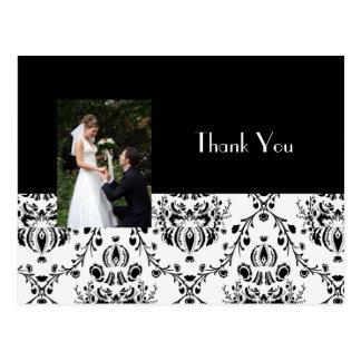 DAMASK WEDDING PHOTO THANK YOU POSTCARD