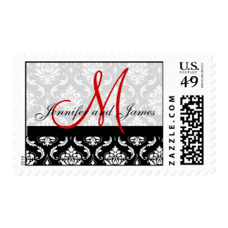Damask Wedding Postage Red Monogram